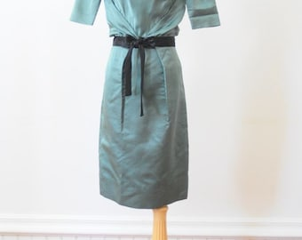 50's COCKTAIL DRESS Wiggle Dress in Teal Green Old Hollywood Glamor Size Small