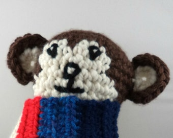 Crocheted Amigurumi Monkey with Multi-Colored Scarf