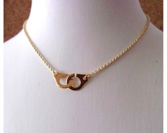 Minimalist necklace golden handcuff and chain