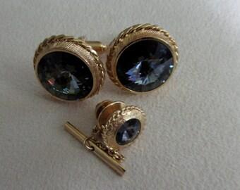 Cufflinks Sherman company set with Swarovski crystals