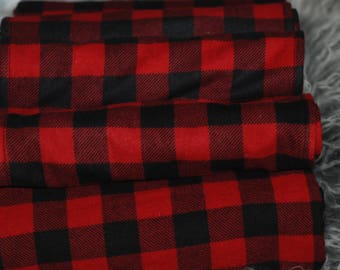 Red and Black Buffalo Plaid, Cotton Flannel Receiving Blanket, Lumberjack Baby