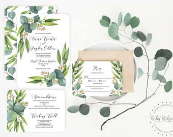 Printable Wedding Invitation | Eucalyptus Greenery V2 | Watercolor Floral Wedding Invite | Woodland Wedding | Floral Bohemian Invitation