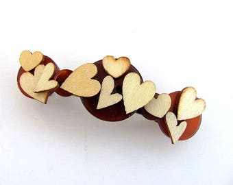 Button Barrette Wood Hearts FREE US Shipping