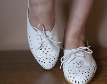 White Leather Perforated Summer Oxfords 8