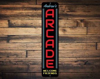 Arcade Sign Vertical, Gamer Gift, Custom Arcade Decor, Game Room Sign, Family Game Room Decor, Arcade Metal Sign-Quality Aluminum ENS1002308