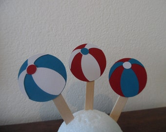Beach Ball Cupcake toppers-  Beach and Pool Party Decorations