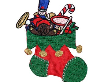 ID 8168A Stocking Full of Toys Patch Christmas Sock Embroidered Iron On Applique