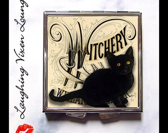 Witch Pill Box - Black Cat Compact Mirror - Pill Case - Purse Mirror - Bag Mirror - Makeup Mirror - Witchery