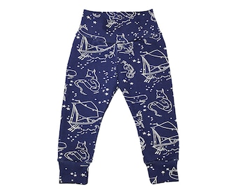 Constellation Leggings - Star Leggings - Boys Leggings - Boys Pants - Baby Leggings - Toddler Leggings - Navy Star - Organic Leggings