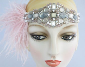 Charleston Flapper Headpiece Silver And Pink, Flapper headband, vintage style, great gatsby