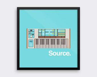 Moog Source Synthesizer Art Print Analog Synth Vintage Graphic Poster Home Geek Music Retro Keyboard Musical Instrument Musician
