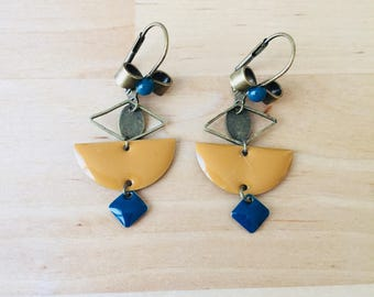 Earrings mustard yellow and teal