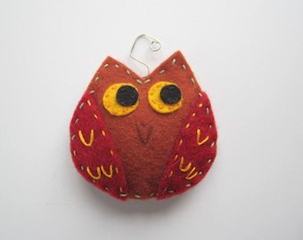 Owl ornament, window decoration, wool bird ornament,