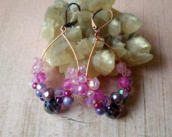 Purple chandelier earrings, Boho earrings, Purple dangle earrings, Beaded earrings