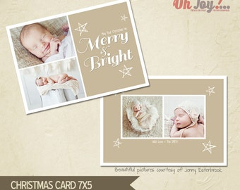 INSTANT DOWNLOAD - Christmas card photoshop template 5x7 - CN115