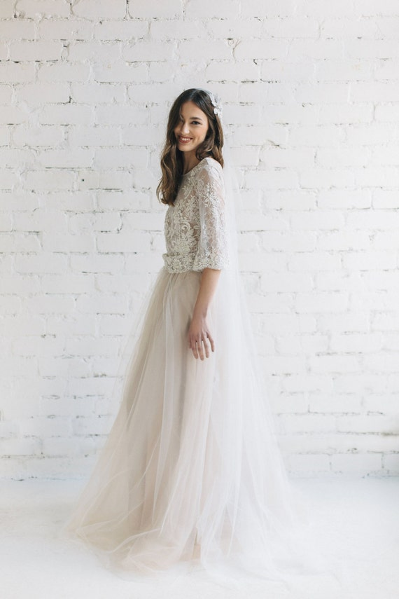 Nude Wedding Skirt Soft Tulle Skirt Bridal Separates