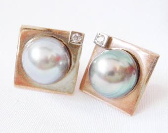 Baroque Pearl Diamond Earrings - 14k Gold - Gray Pearl Earrings - Bridal - Pearls Diamonds - Bride Wedding - Mother's Day - 1980s Designer