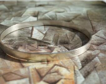Brushed Sterling Silver Bangle, Narrow Bangle, Textured Bangle