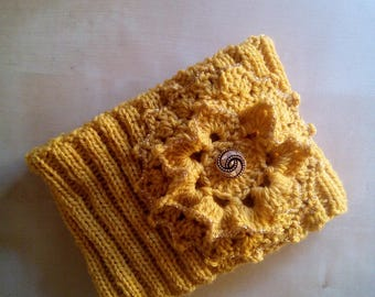 Neck warmer wool scarf with large beaded crochet-mustard yellow saffron-jewel button-boho chic-neck wool
