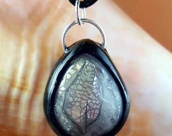 Fallen leaf Mokume gane polymer clay necklace pendant