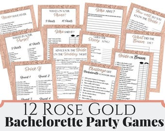12 Rose Gold Bachelorette Party Games, Printable Bachelorette Party Game, Bridal Shower Game, Hens Night Game