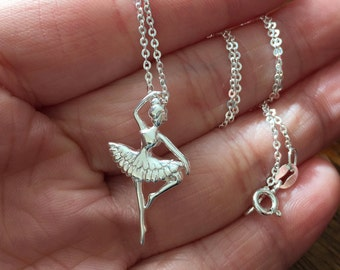 Ballerina Necklace, Sterling silver Necklace, Sterling Silver Ballerina Necklace, Dance Recital Gift, Dancer Silhouette, Dance Necklace
