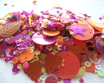20g Pack of Tutti Frutti Mixed Colour Sequins, Pack of Orange Pink Yellow Sequins, 20g Pack of Sequins BD01