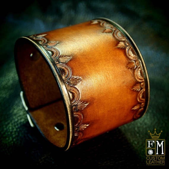 Leather cuff Bracelet Vintage style Brown stamped and tooled wristband Custom Made for YOU in USA by Freddie Matara!