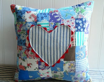 Appliqued Heart Pillow Vintage feedsack patchwork  ticking red white damask Farmhouse Chic