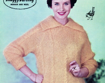 1950's Pattern - Shaggy Darling Mohair Sweater - Vintage Pattern - Original Knitting Pattern Not A Copy - Robin 884 - Lady's Sweater Jumper