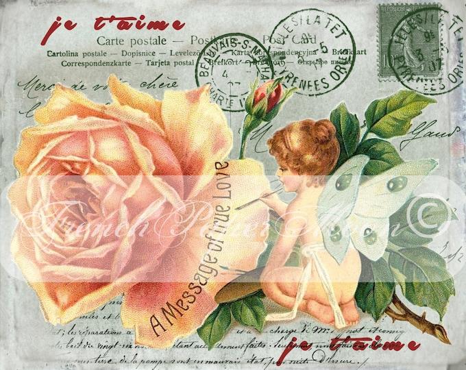 Shabby Digital Vintage Valentine, Fairy, French Digital Postcard, Instant Download Valentine Graphic Transfer Image
