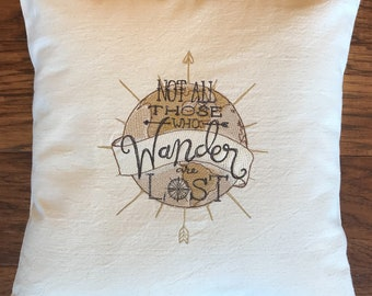 Not all who wander are lost, JRR Tolkien, pillow, throw pillow, travelers, decorative pillow,