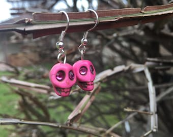 Dia De Los Muertos Day of the Dead Colorful 8mm Sugar Skull Skeleton Earrings