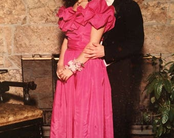 1980's handmade pink prom dress, formal gown