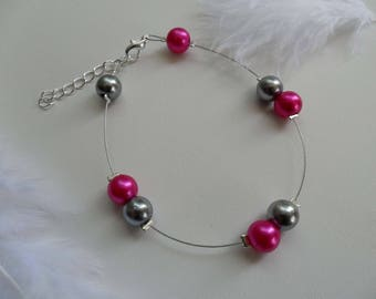 Bracelet beads Fuchsia and silver costume jewelry
