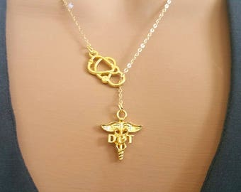 DPT Doctor of Physical Therapy Gold Plated Caduceus Stethoscope Lariat Necklace