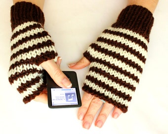 Personalized Knitting fingerless gloves, Brown White Stripes, Boho knit glove mittens, Knit gloves mittens, Stripes Gloves, Xmas gift
