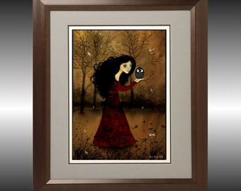 Girl and Owl Art Print -- Look Into My Eyes -- 8x10