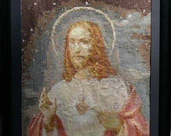 Jesus Crist cross stitch embroidered framed painting picture