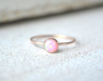 Rose Gold Opal Ring. Pink Opal Ring, Pink Gold Opal Ring, Pink Opal Gemstone Ring, Stackable Opal Ring, Opal Gemstone Ring, Stacking Ri