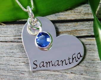 Hand Stamped Jewelry - Personalized Jewelry - Mom Necklace - Sterling Silver Heart Necklace - One names one birthstone