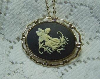 Garden Faerie Necklace Brooch, Pin and Pendant, Reclining Fairy, Black & Cream, Nymph, Garden Goddess, Faery, Bright Gold, Sylphid, Sylph