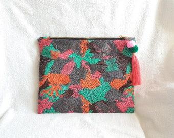 Embroidery Clutch,Tassel Clutch,Pompom Clutch,Ethnic Clutch,Minimalist Clutch,Minimalist Purse,Minimal Everyday Purse,Everyday Clutch