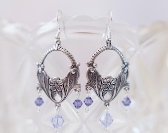 Art Nouveau Style Earrings with Tanzanite and Provence Lavender Swarovski Crystals