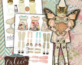 Printable, Paper Dolls, Cat Paper Dolls, Digital, Collage Sheet, Mixed Media Art, Digital Dolls, Printable Dolls, Kittens, Cats, Calico