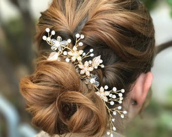 Bridal Hair Comb, Pearl Rhinestone Hair Comb, Updo Wedding Hair Accessory, Gold Silver Hair Comb, Bridesmaid Hair Accessory