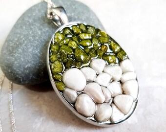 925 Silver Pebble Stone Necklace (K925-105)