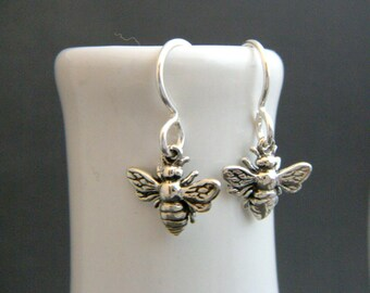 tiny sterling silver honey bee earrings petite honeybee simple nature jewelry small hook leverback dangle good luck charm dainty delicate