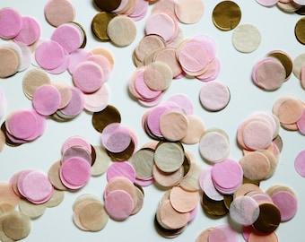 "Tissue Confetti- Pastel Confetti - 1"" Circle Confetti - Paper Confetti - Wedding Confetti - Balloon Confetti:  Peachy Pinks and Tan"