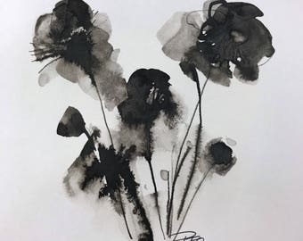Contemporary ink floral abstract painting  small format art modern